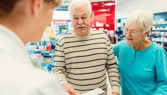 senior couple in a pharmacy