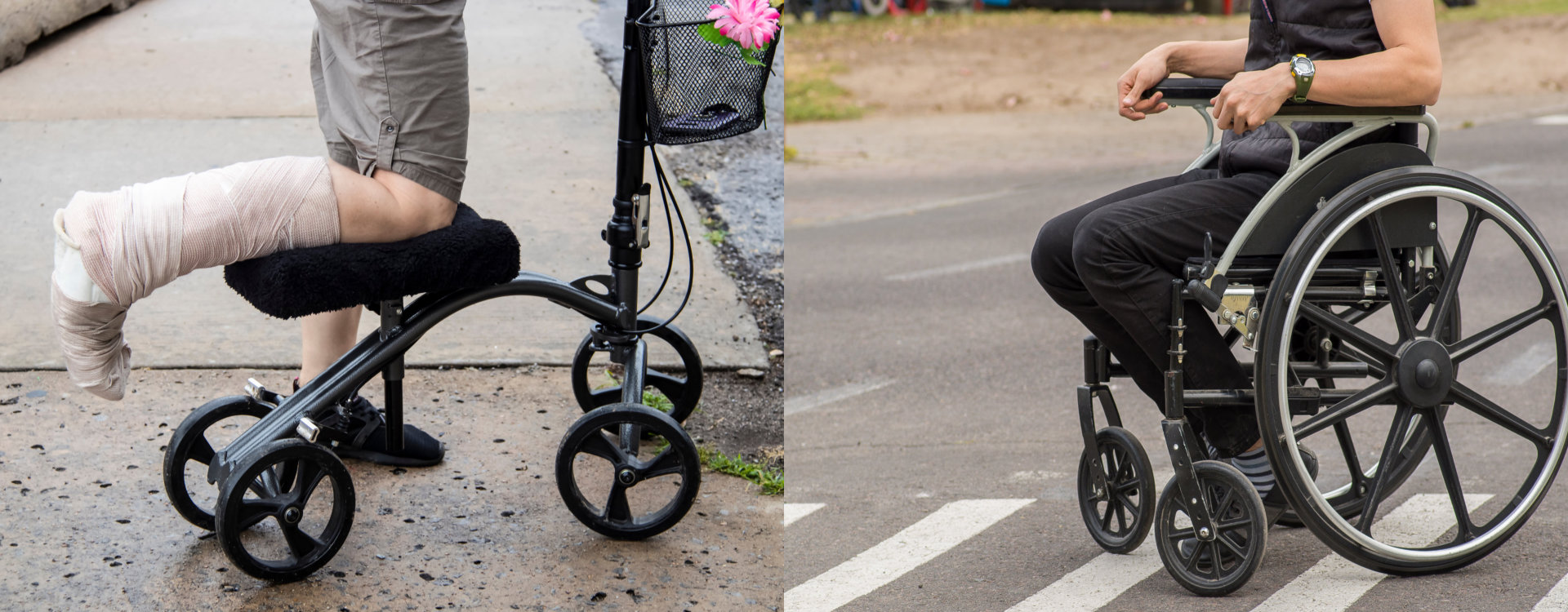 Knee scooter and wheelchair